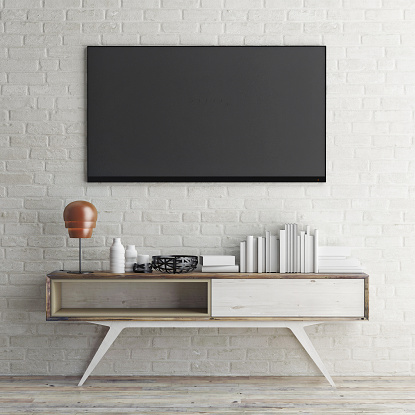 Mock Up Tv On White Brick Wall 3d Illustration Stock Photo Download Image Now Istock