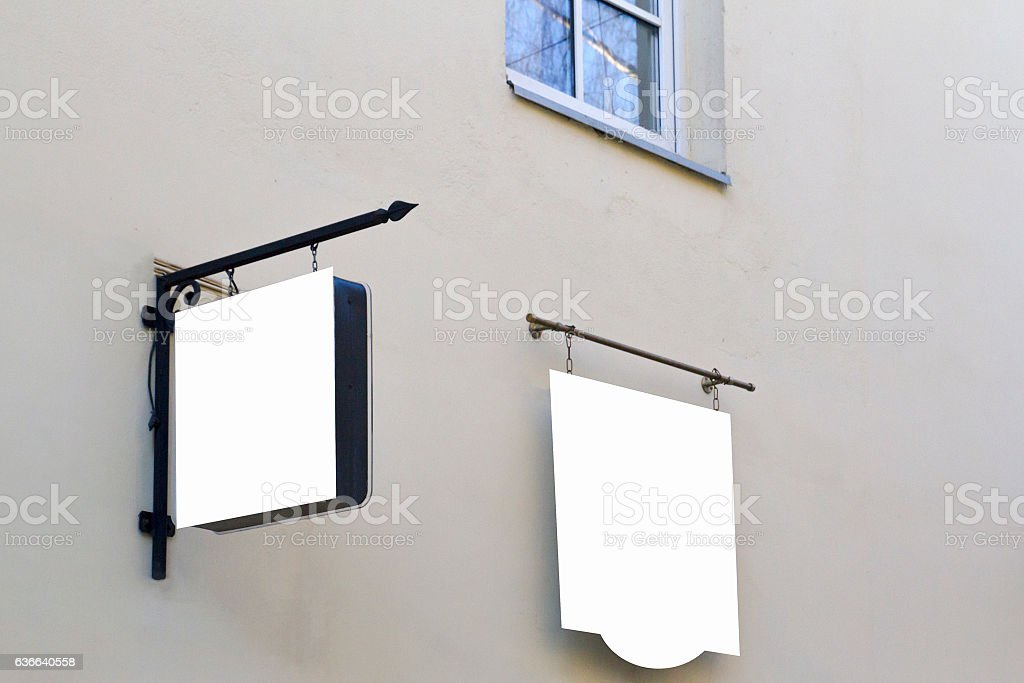 Mock up. Two signboards on the wall stock photo