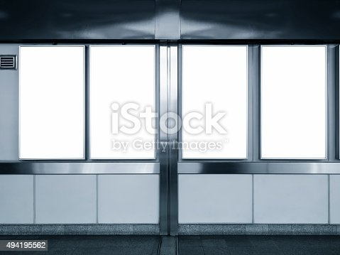 istock Mock up Vertical Ad Blank Posters display in Subway station 494195562
