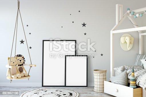 692866324 istock photo mock up wall in child room interior. Interior scandinavian style. 3d rendering, 3d illustration 692862196