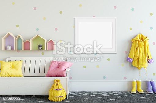 692866324 istock photo mock up wall in child room interior. Interior scandinavian style. 3d rendering, 3d illustration 692862200