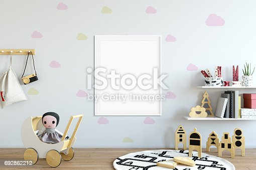 692866324 istock photo mock up wall in child room interior. Interior scandinavian style. 3d rendering, 3d illustration 692862212