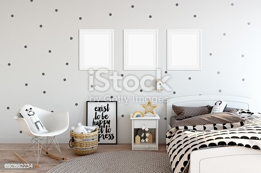 istock mock up wall in child room interior. Interior scandinavian style. 3d rendering, 3d illustration 692862234