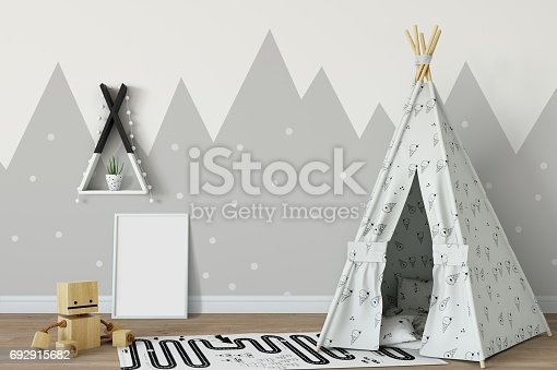 istock mock up wall in child room interior. Interior scandinavian style. 3d rendering, 3d illustration 692915682