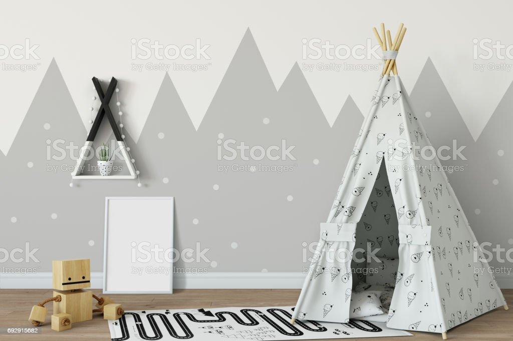 mock up wall in child room interior. Interior scandinavian style. 3d rendering, 3d illustration stock photo