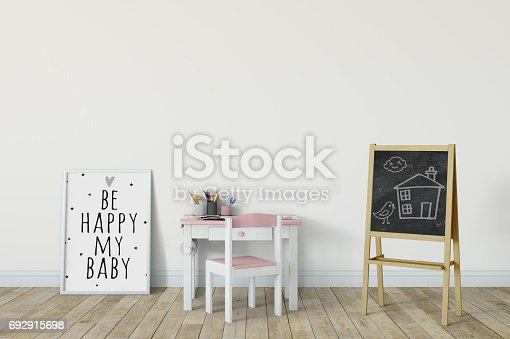 831639394 istock photo mock up wall in child room interior. Interior scandinavian style. 3d rendering, 3d illustration 692915698
