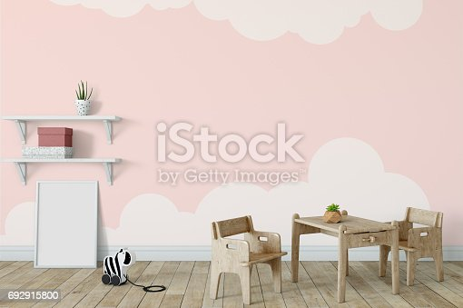 831639394 istock photo mock up wall in child room interior. Interior scandinavian style. 3d rendering, 3d illustration 692915800