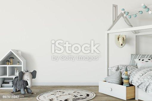 686648930 istock photo mock up wall in child room interior. Interior scandinavian style. 3d rendering, 3d illustration 692915942