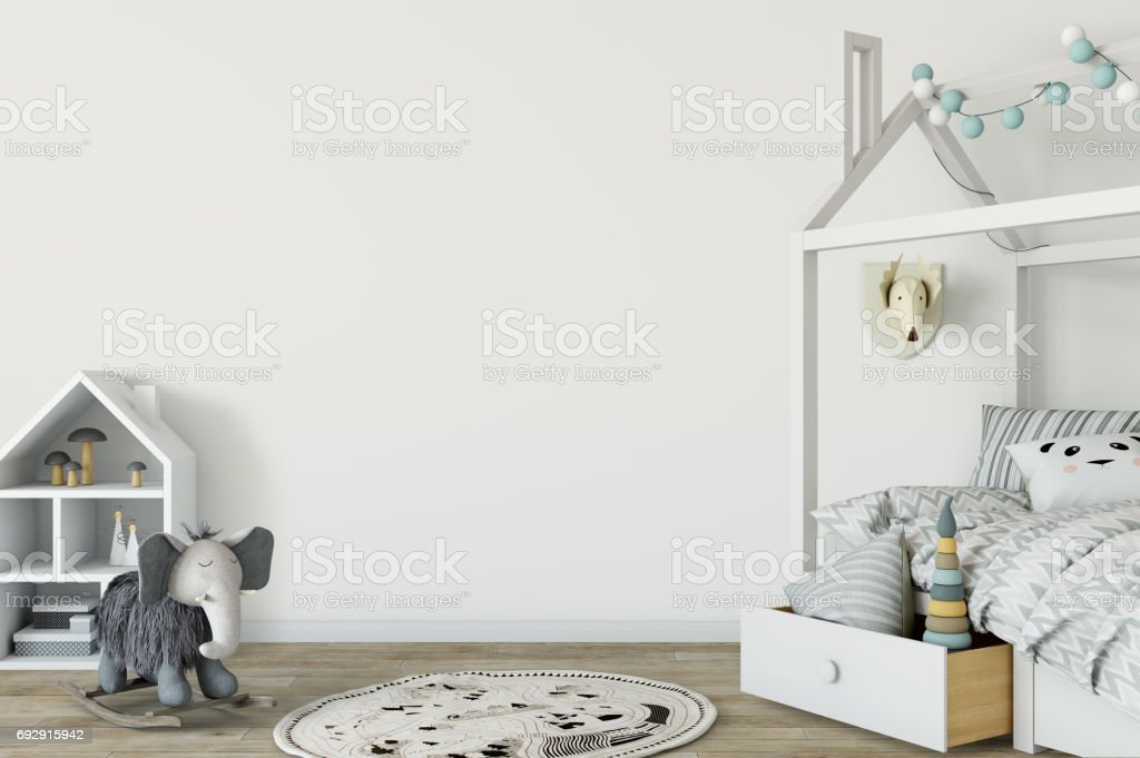 mock up wall in child room interior. Interior scandinavian style. 3d rendering, 3d illustration stock photo