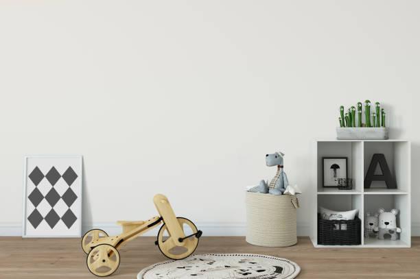 Mock-up Wand im Innenraum Kind. Skandinavischen Wohnstil. 3D Rendering, 3d illustration – Foto