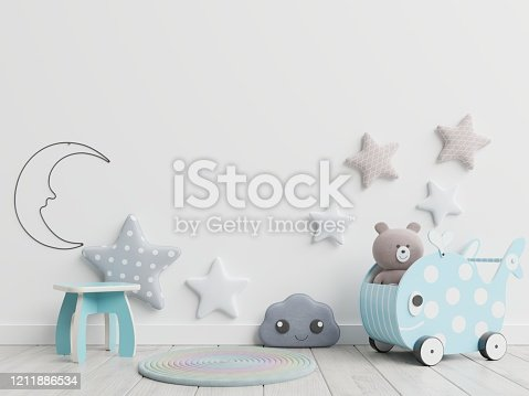 1208254898 istock photo Mock up wall in children room,kids room, nursery mockup. 1211886534
