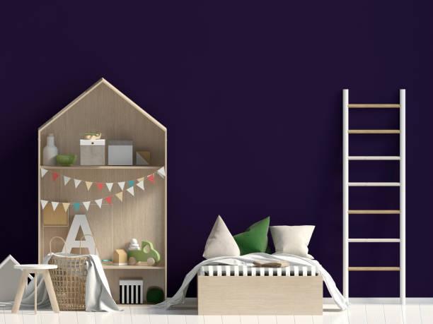 mock up wand im inneren des kindes. schlafplatz. modernes stil. 3d-illustration - lila, grün, schlafzimmer stock-fotos und bilder