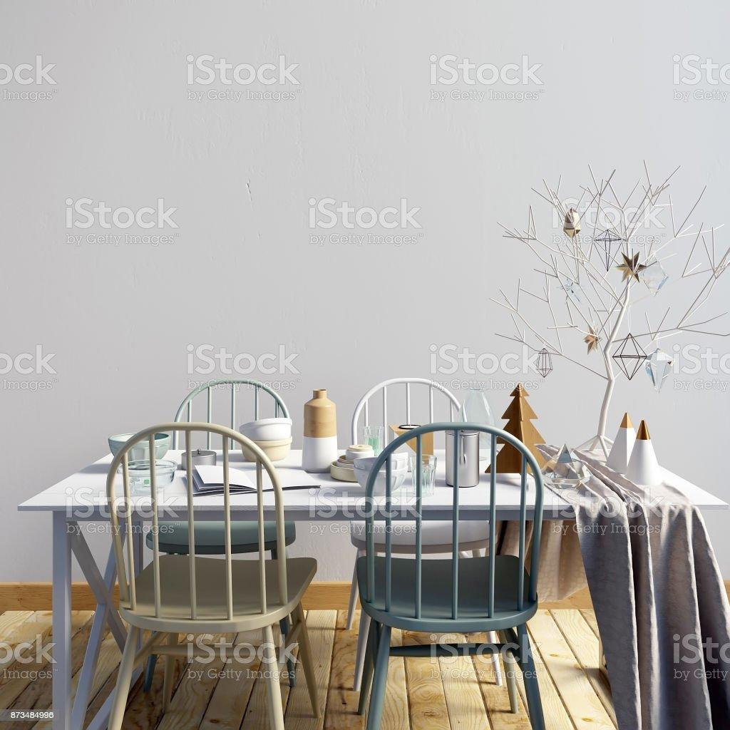 Mock Up Wand Im Innenraum Mit Essbereich. Moderne Wohnzimmer. 3D  Illustration Lizenzfreies Stock