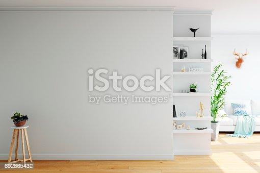 692866324 istock photo mock up wall interior. Scandinavian style. Wall art. 3d rendering, 3d illustration 692865432