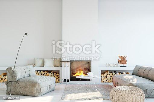 692866324 istock photo mock up wall interior. Scandinavian style. Wall art. 3d rendering, 3d illustration 692865446