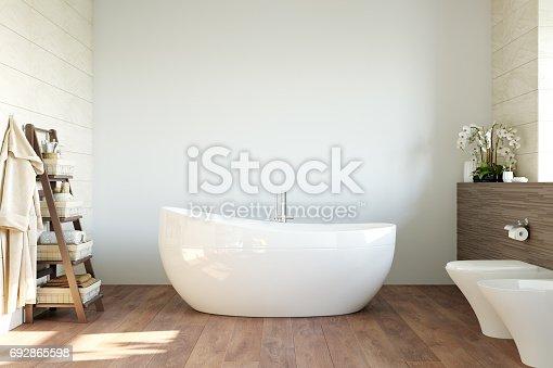 istock mock up wall interior. Scandinavian style. Wall art. 3d rendering, 3d illustration 692865598