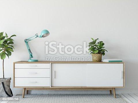 692866324 istock photo mock up wall interior. Scandinavian style. Wall art. 3d rendering, 3d illustration 692866256