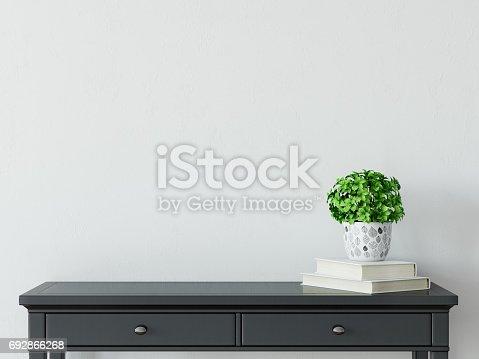 692866324 istock photo mock up wall interior. Scandinavian style. Wall art. 3d rendering, 3d illustration 692866268