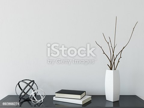 692866324 istock photo mock up wall interior. Scandinavian style. Wall art. 3d rendering, 3d illustration 692866274