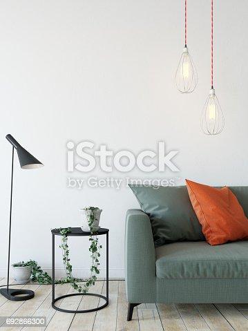692866324 istock photo mock up wall interior. Scandinavian style. Wall art. 3d rendering, 3d illustration 692866300