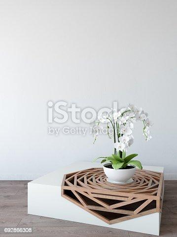 692866324 istock photo mock up wall interior. Scandinavian style. Wall art. 3d rendering, 3d illustration 692866308