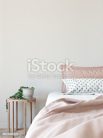 istock mock up wall interior. Scandinavian style. Wall art. 3d rendering, 3d illustration 692866320
