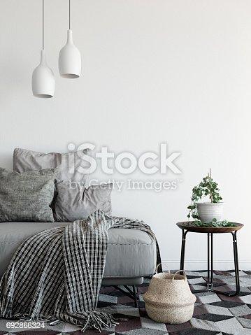 istock mock up wall interior. Scandinavian style. Wall art. 3d rendering, 3d illustration 692866324