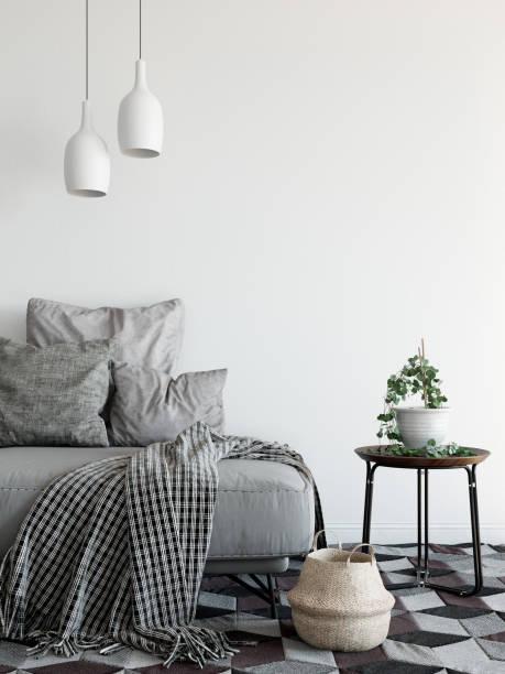 mock-se interior da parede. estilo escandinavo. arte da parede. renderização 3d, ilustração 3d - escandinavo - fotografias e filmes do acervo