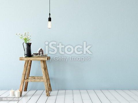 692866324 istock photo mock up wall interior. Scandinavian style. Wall art. 3d rendering, 3d illustration 692866350