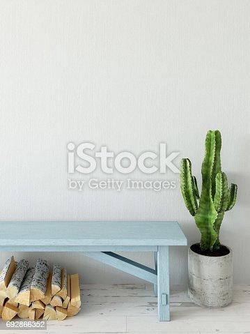 692866324 istock photo mock up wall interior. Scandinavian style. Wall art. 3d rendering, 3d illustration 692866352