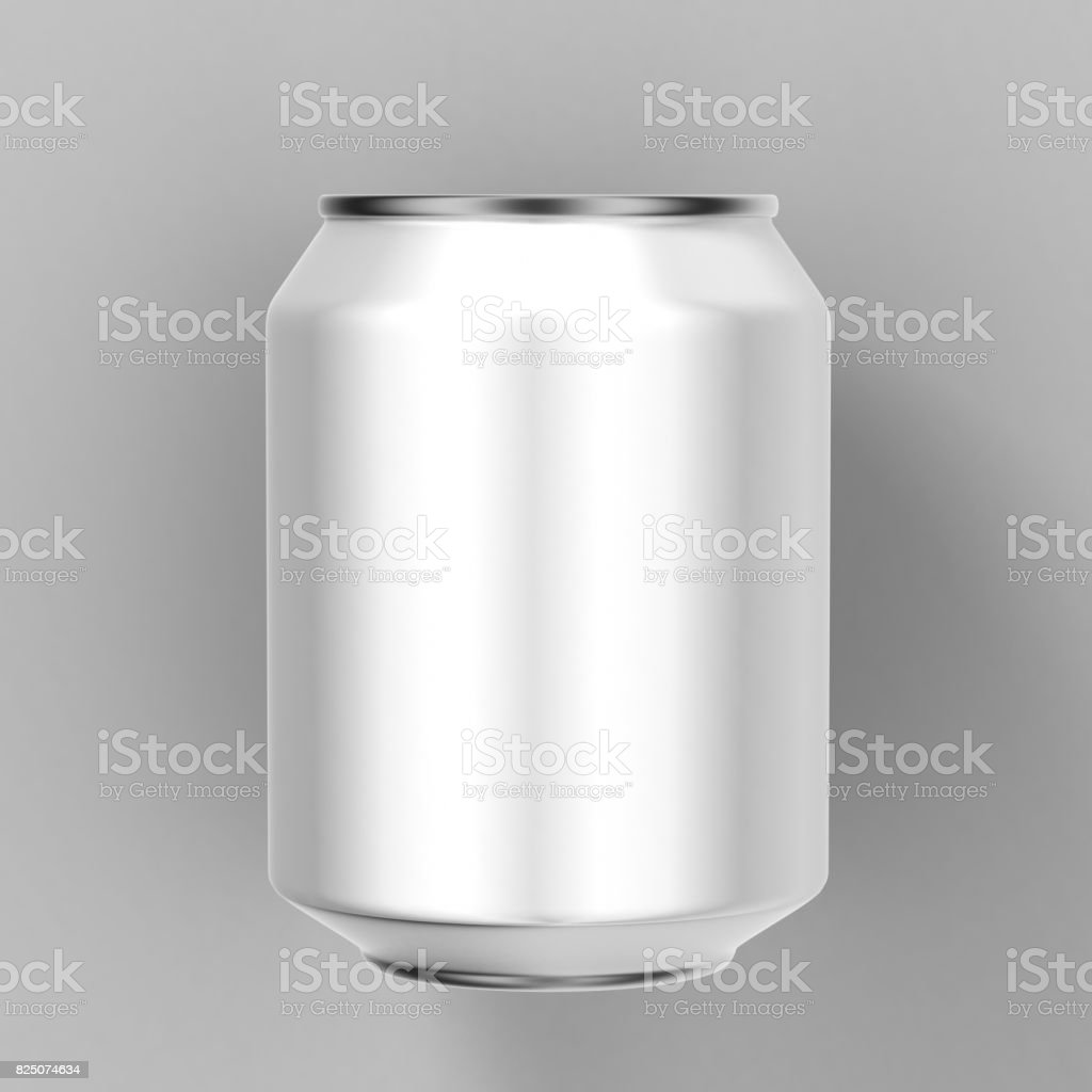 Mock up white blank aluminum beverages drink 250 ml can on white background. 3d illustration. stock photo