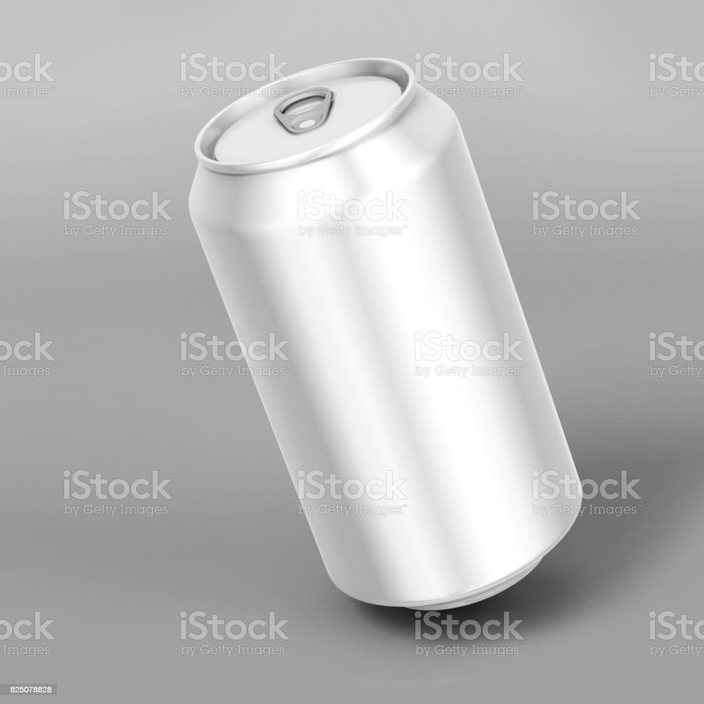 Mock up white blank aluminum beverages drink 330 ml can on white background. 3d illustration. stock photo