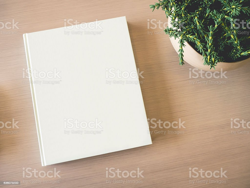 Mock up white Book cover on table with Green Plant - fotografia de stock