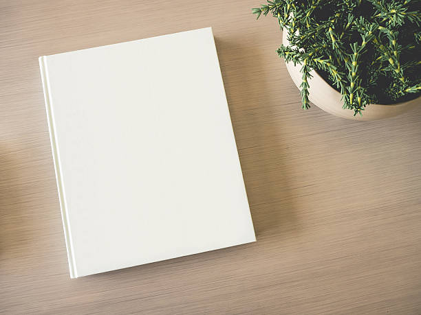 Mock up white Book cover on table with Green Plant stock photo