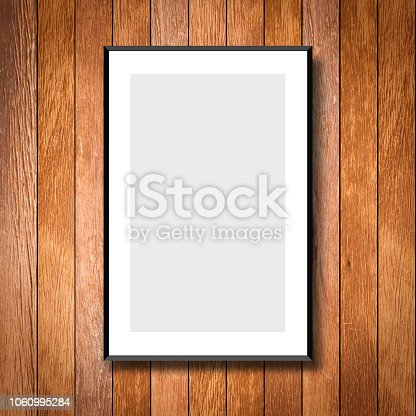 mock up white poster frame on brown wood rustic sliced wall background texture for design and decorate interior concept