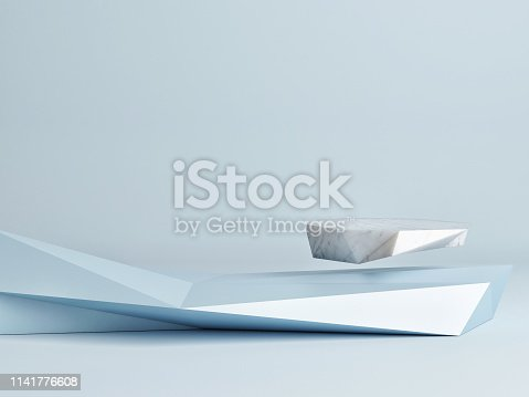 istock Mock up winner  podium,  abstract minimalism with blue background, 1141776608