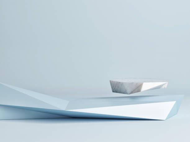 Siegerpodest, abstrakter Minimalismus mit blauem Hintergrund, – Foto