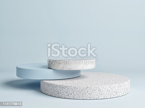 istock Mock up winner  podium,  abstract minimalism with blue background, 1141776613