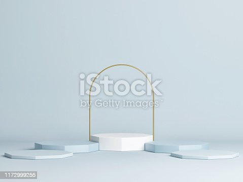 1079254746istockphoto Mock up winner podium, minimal design, blue background 1172999255