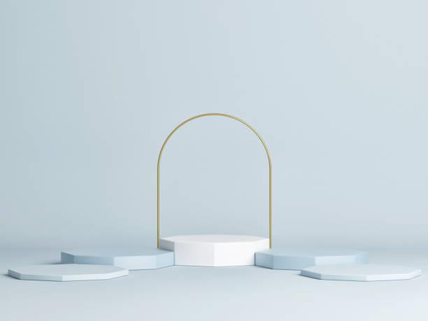 Mock up Sieger Podium, minimales Design, blauer Hintergrund – Foto