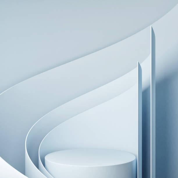 Mock up Sieger Podium, Mock up Studio für Produktpräsentation, blauer Hintergrund, – Foto