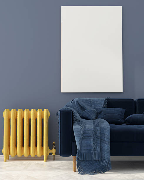 Mock up with blue sofa and yellow radiator – Foto