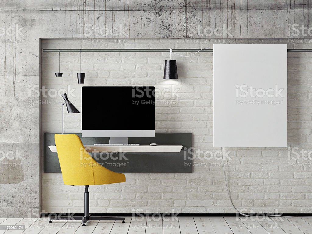 mock up work space, 3d illustration stock photo