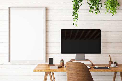 Mock up Work Space with Computer. 3d Render
