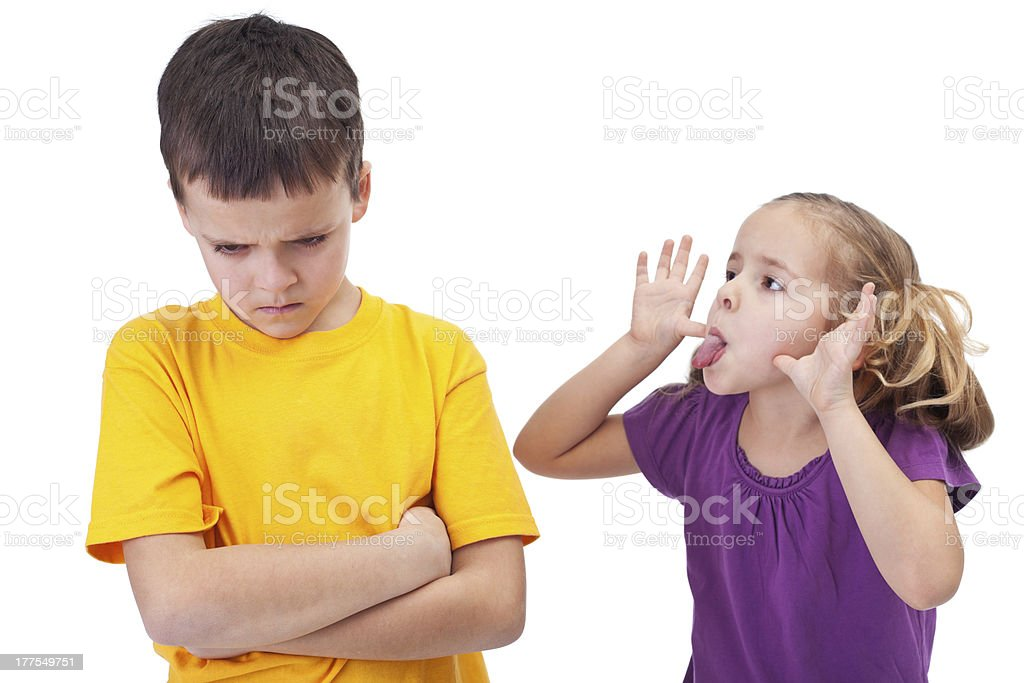Mocking and teasing among children royalty-free stock photo