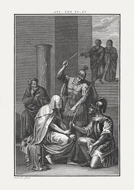 mocking of jesus (luke 22, 64), copper engraving, published c.1850 - sculacciate foto e immagini stock