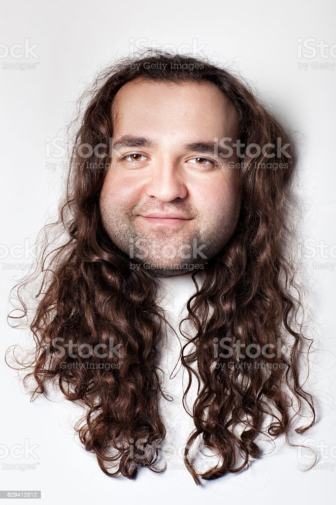 Mocking the man's face. stock photo