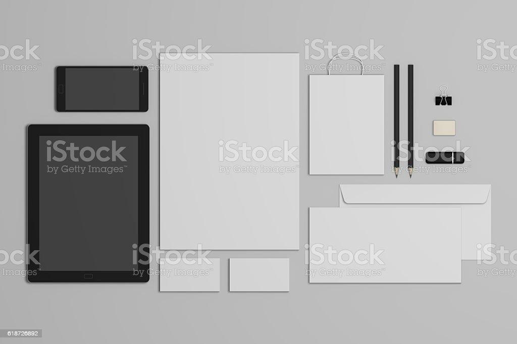 Mock-up 3d illustration business branding template. stock photo