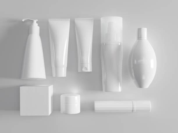 mock-up und kosmetik-paket - kosmetikprodukte stock-fotos und bilder