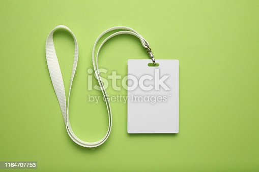 istock Mockup badge, name tag id, lanyard card 1164707753
